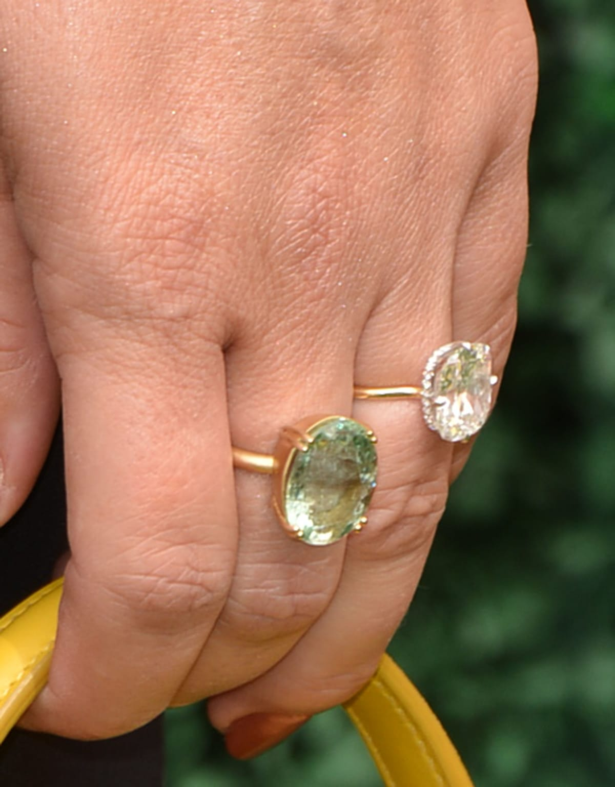 Sophia Bush's square-shaped diamond ring is designed by Kantor Gems with a thin yellow gold band