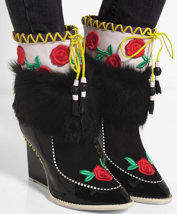 Sophia Webster Anouschka shearling-trimmed embroidered leather and suede boots