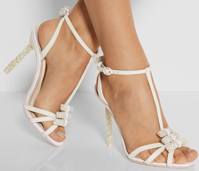Sophia Webster White Fleur Embellished Leather and Glitterfinished Twill Sandals