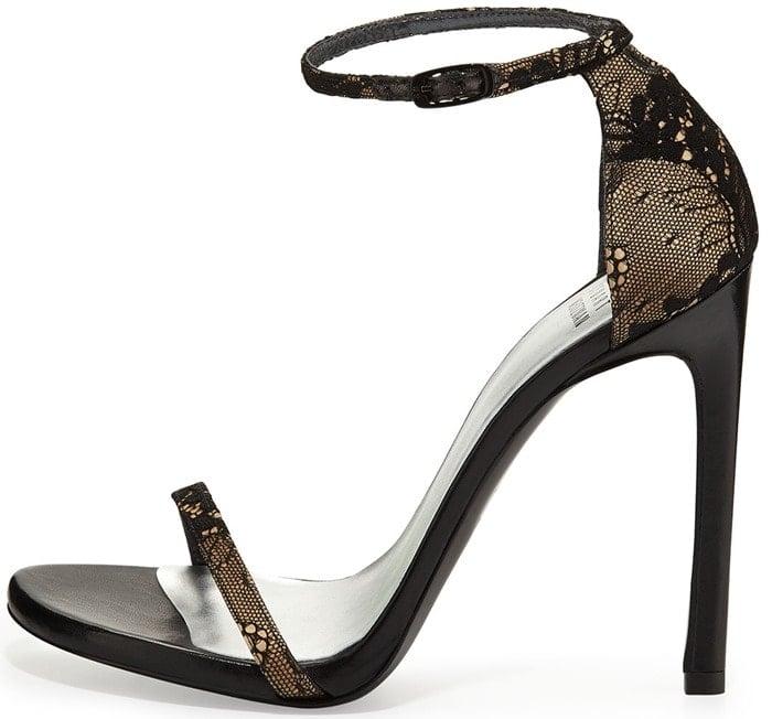 Stuart Weitzman Gold Nudist Lace Ankle-strap Sandal Black