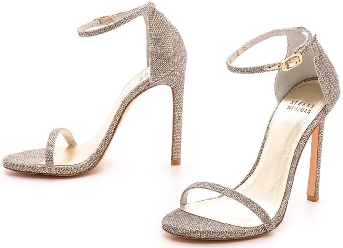 Stuart Weitzman Gold Nudist Single Band Sandals Platinum