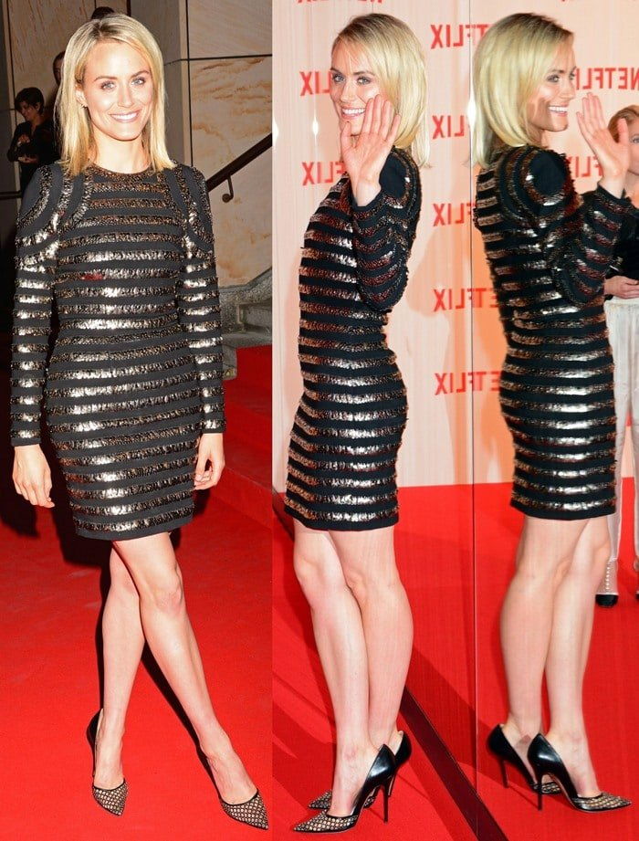 Taylor Schilling flaunts her long legs in a gleaming sequined dress