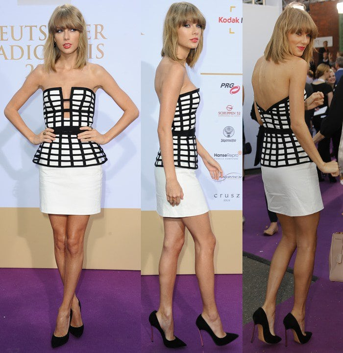 Taylor Swift ina cage bandeau crop top paired with a cage peplum skirt from the Sass & Bide Fall 2013 collection