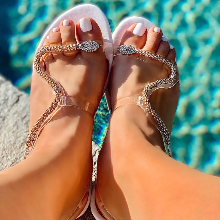 White Snake Rhinestones Strappy Sandals