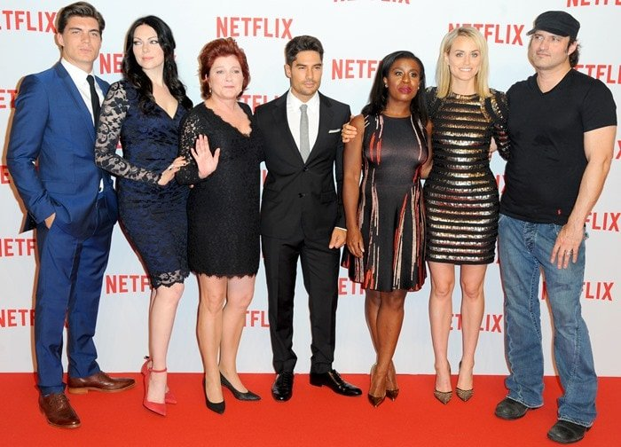 Zane Holtz, Laura Prepon, Kate Mulgrew, D.J. Cotrona, Uzo Aduba, Taylor Schilling, and Robert Rodriguez at the Netflix Launch Party held at the Komische Oper on Tuesday in Berlin, Germany, on September 16, 2014
