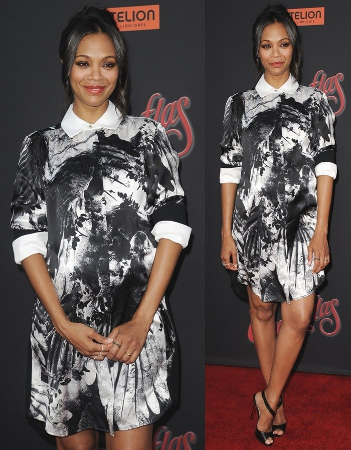 Zoe Saldana ina white pointy-collared dress from the Preen Pre-Fall 2014 collection