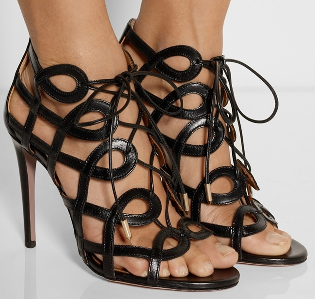aquazzura x olivia palermo cutout lace up sandals 2