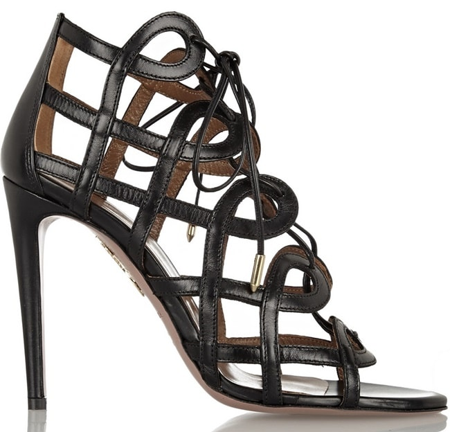 aquazzura x olivia palermo cutout lace up sandals
