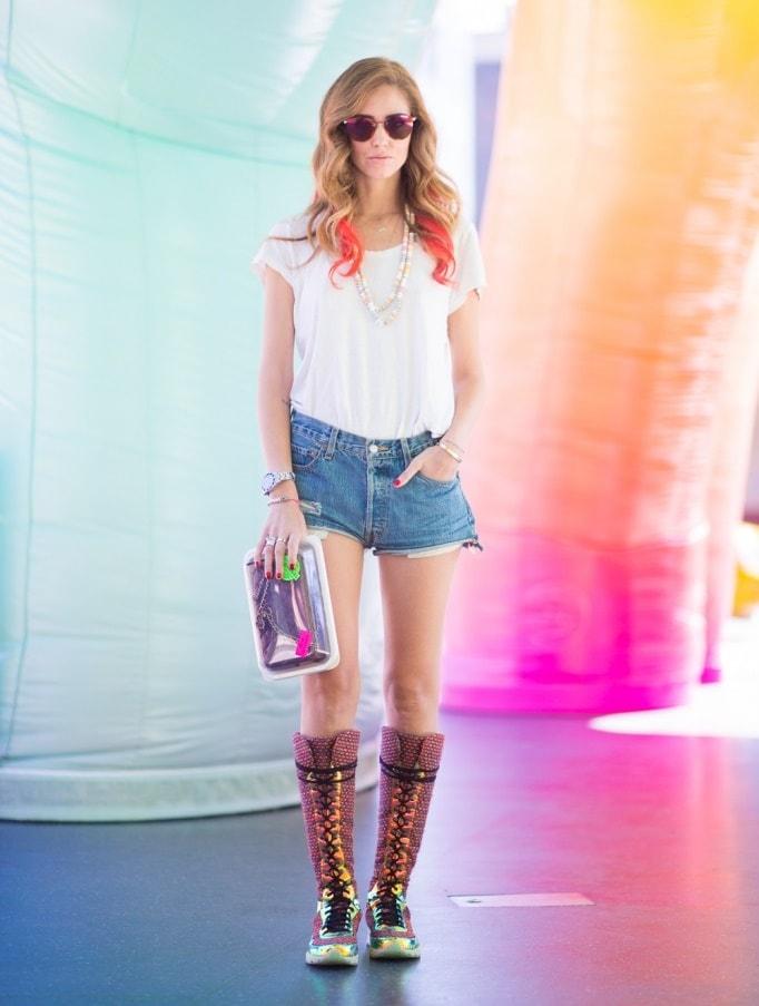 Chiara Ferragni in a t-shirt and denim shorts