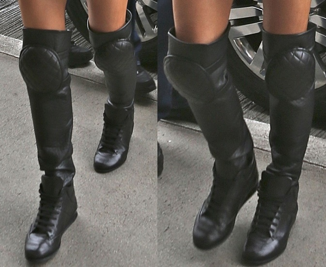 Fergie's lace-up thigh-high sneakers
