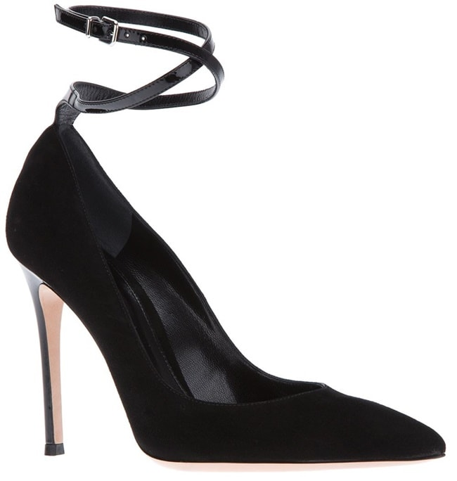 Gianvito Rossi Double Ankle Wrap Pumps in Black Suede