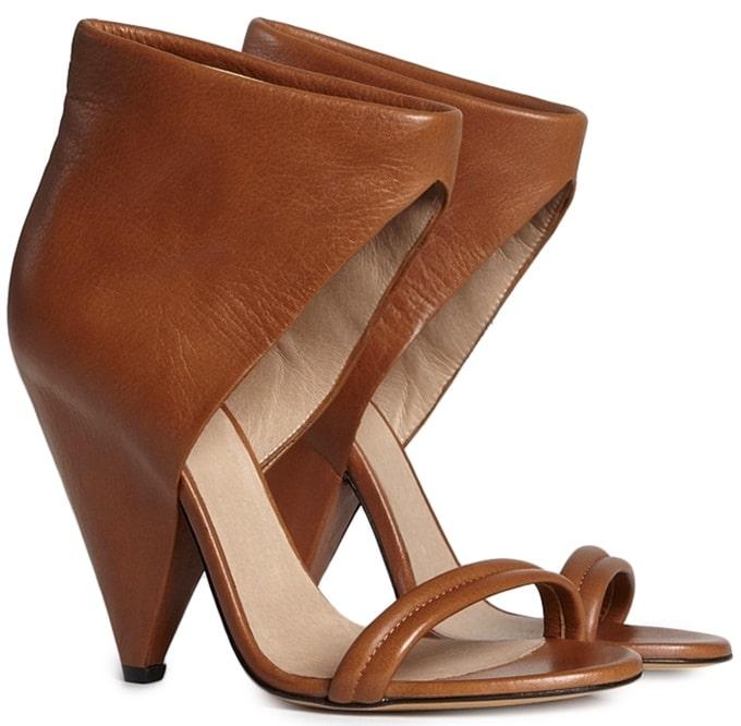 "IRO ""Saika"" Cone-Heel Sandals in Camel"