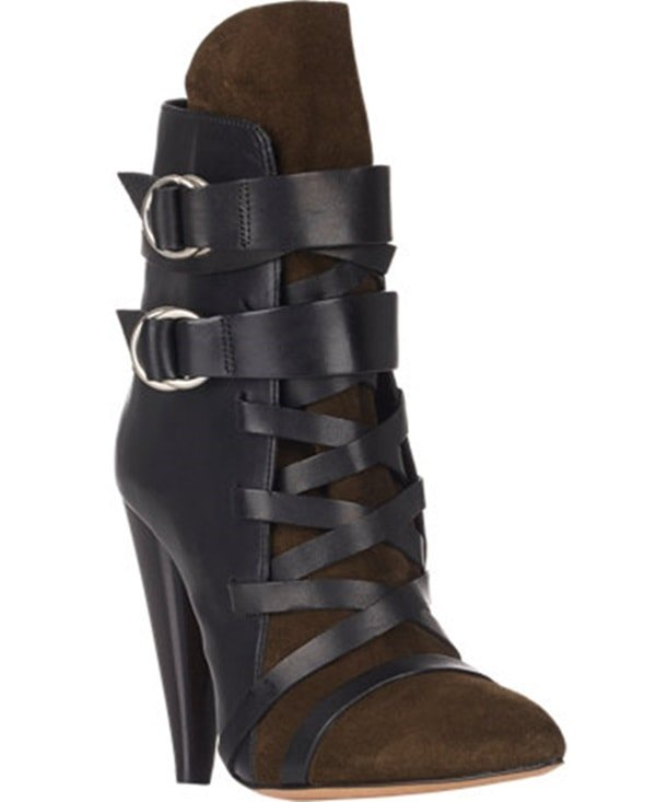 Crafted of black smooth calfskin and olive suede, these ankle boots are styled with wide leather laces and double ankle straps