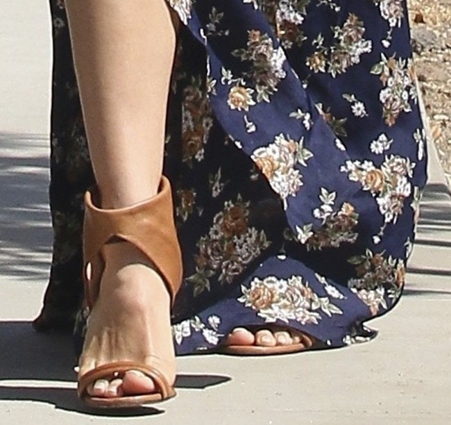 A closer look at Jenna's ankle-cuff cone heel sandals