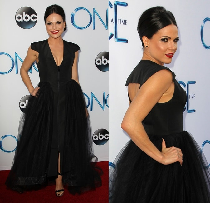 Lana Parrilla's long black dress detailed with a tulle overlay and a sexy cutout on the back
