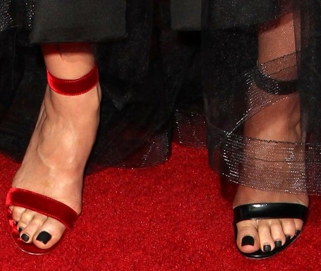 Lana Parrilla's hot feet in mismatched heels
