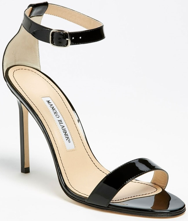 Manolo Blahnik Chaos Sandals in Black Patent