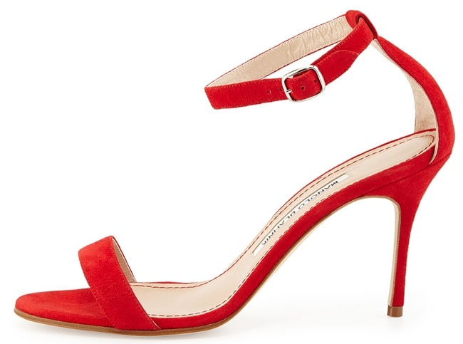 Manolo Blahnik Chaos Sandals in Red Suede
