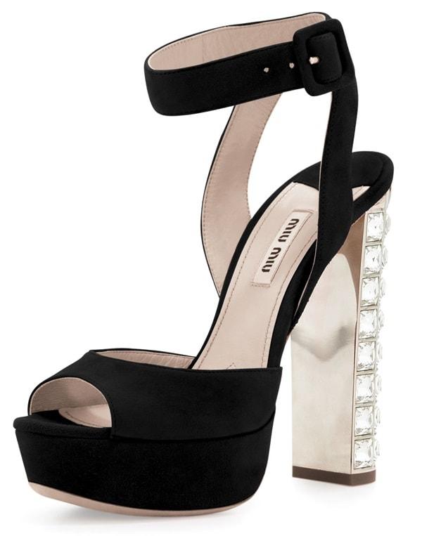 Miu Miu Platform Sandals in Black Suede