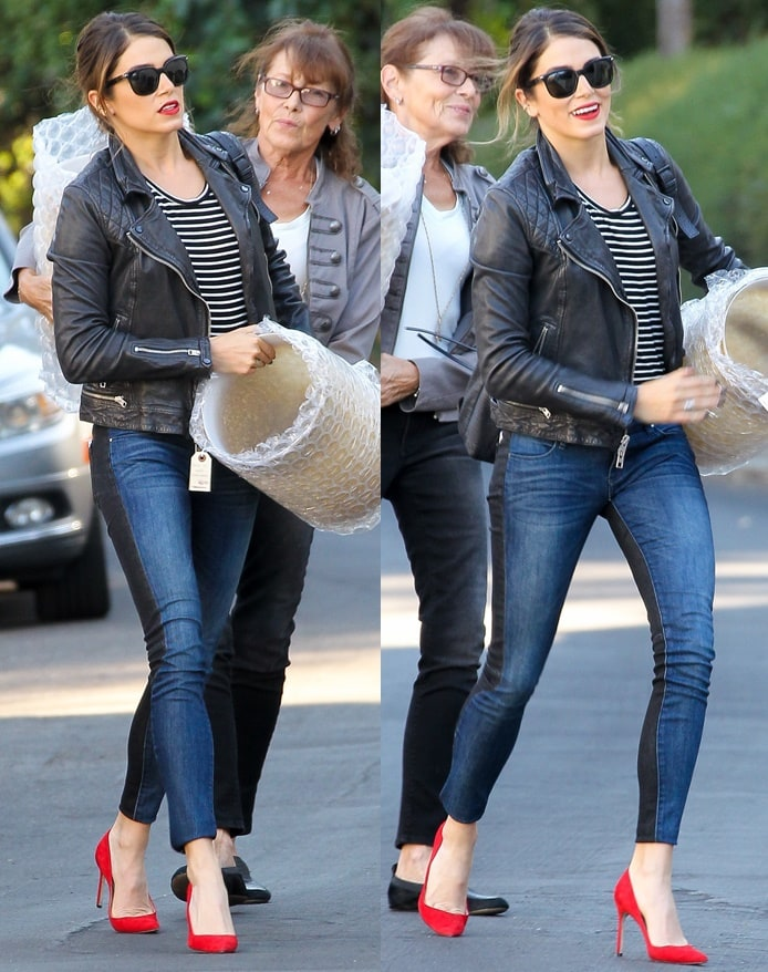 Nikki Reed runs errands in Los Angeles with her mother while decked in a pair of red pointy stilettos