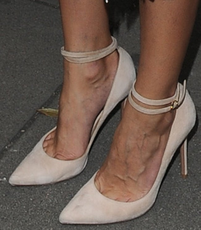 A closer look at Olivia's double ankle-strap pumps