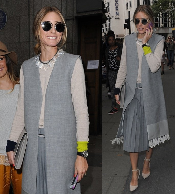 Olivia Palermo goes extra conservative for the spring 2015 J.W. Anderson show