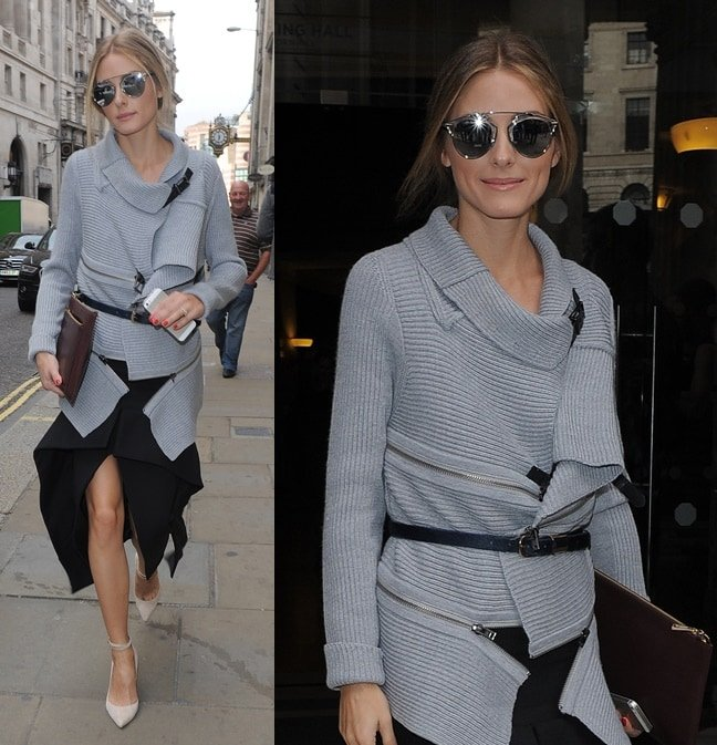 Olivia Palermo wears a chunky sweater and an asymmetricalskirt for the Emily Wickstead show