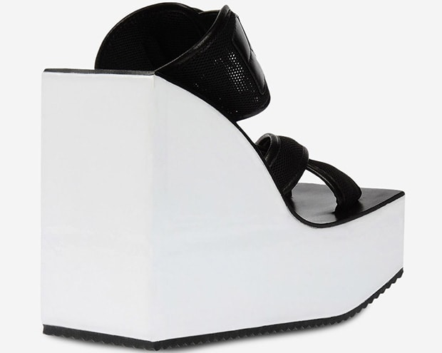 Y-3 Wedge Sandals in Black and White