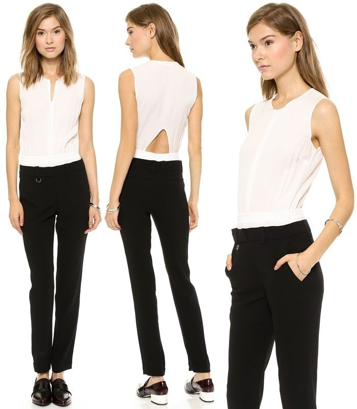 A lightweight bodice pairs with contrast, mid-weight pants on this slouchy-slim A.L.C. jumpsuit