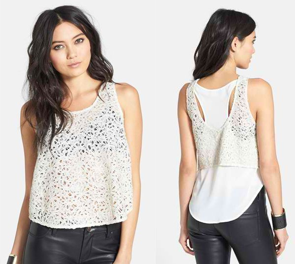 ASTR Sequin Lace Layered Tank