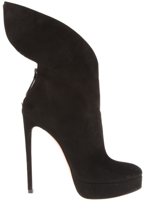 Alaïa Black Blow Boots in Soft Suede with Graphic Ankle Panels