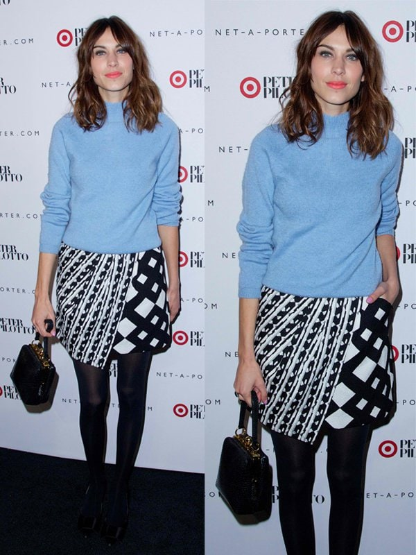 Alexa Chung at a private shopping event in celebration of Peter Pilotto for Target at Gotham Hall in New York City on February 6, 2014