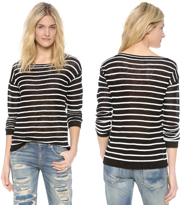 Dropped shoulder seams relax the fit of a boxy alice + olivia sweater, patterned with slim stripes
