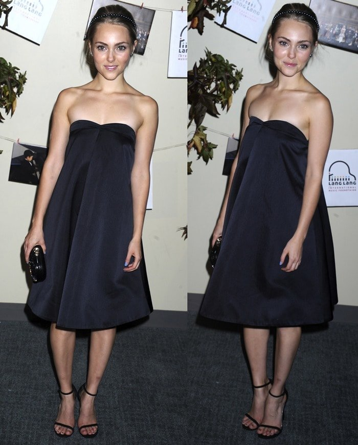 AnnaSophia Robb flaunts her sexy legs in a dark gray strapless A-line dress by Katie Ermilio