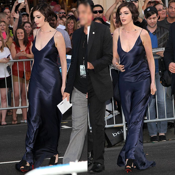 Anne Hathaway wearing Christian Louboutin fringe peep-toe sandals