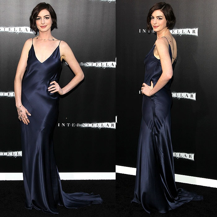 Anne Hathaway arriving at the premiere of Paramount Pictures' 'Interstellar' at the TCL Chinese Theatre IMAX in Hollywood, California, on October 26, 2014