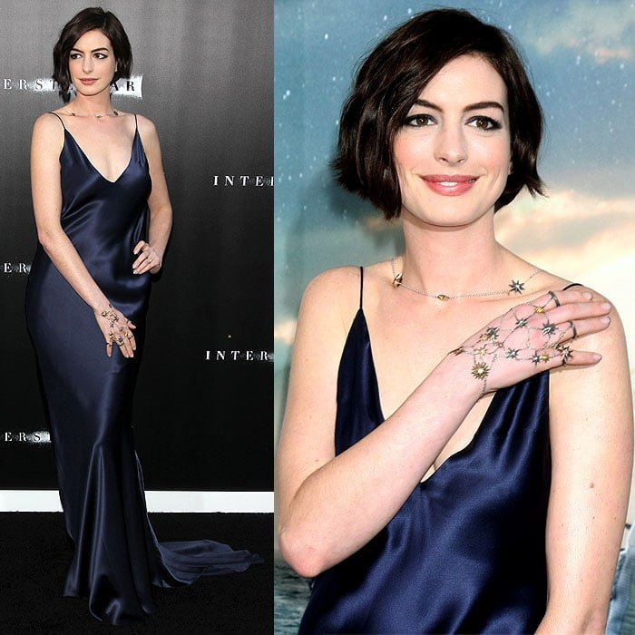 Anne Hathaway striking different poses to model her starry hand jewelry