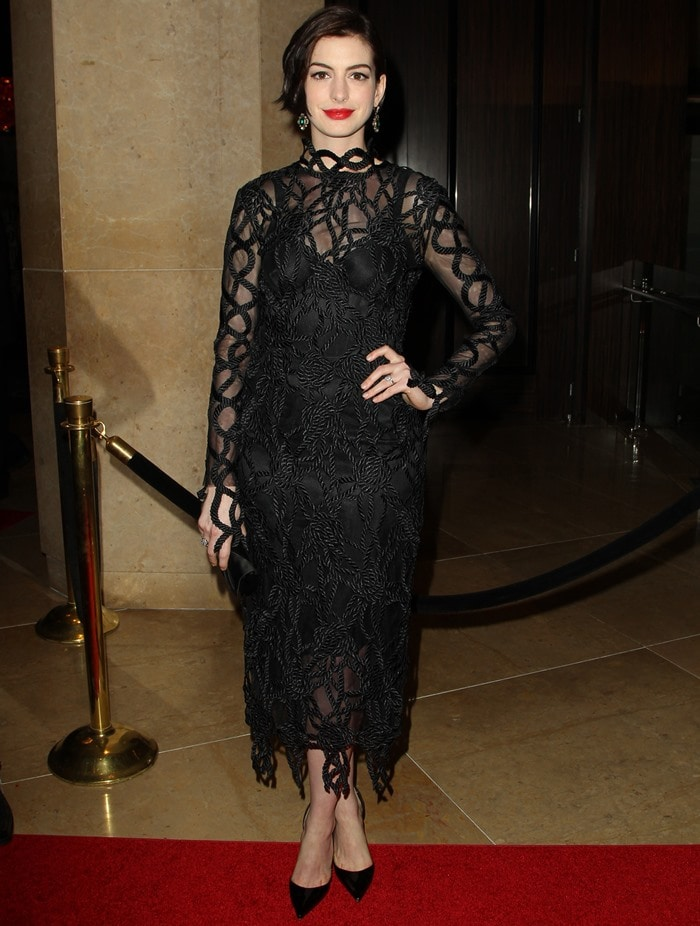 Anne Hathaway at the 2014 American Cinematheque Award ceremony at The Beverly Hilton in Beverly Hills on October 21, 2014
