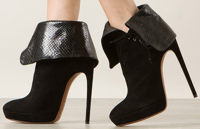 Azzedine Alaïa Black Suede and Python Ankle Boots