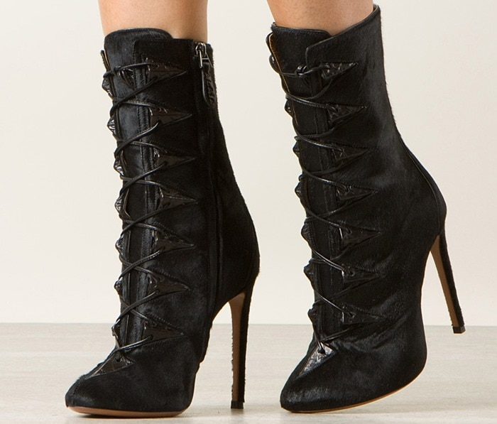 Azzedine Alaïa Black Pony and Python High Ankle Boots