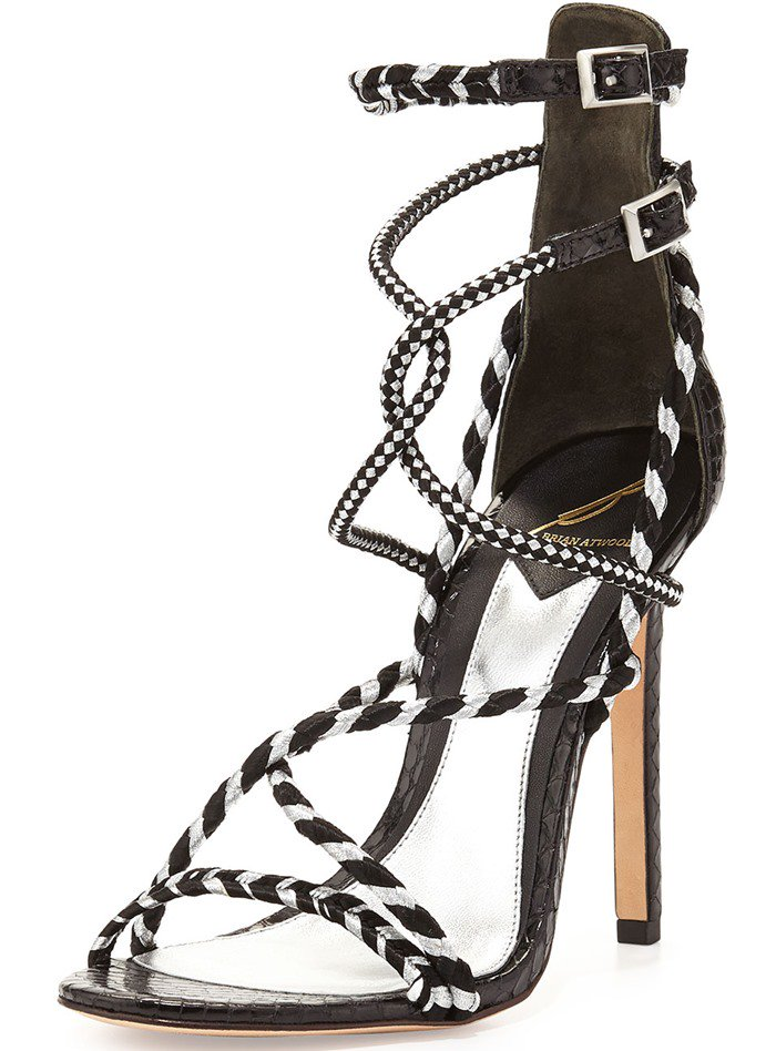 "B Brian Atwood ""Linares"" Woven Strappy Sandals"