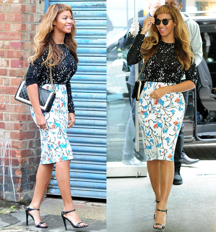 Beyonce paired her sandals with a Generation Love paint-effect sheer top and a Tanya Taylor printed pencil skirt.