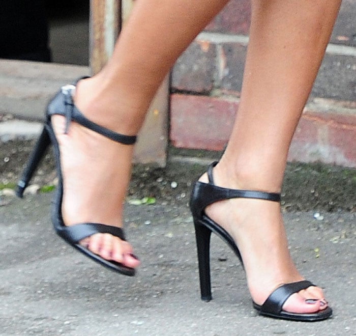 Beyonce wearing Prada sandals at an art gallery in Mayfair, London, England, on October 15, 2014