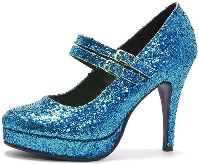 Blue Glitter Mary Jane Pumps