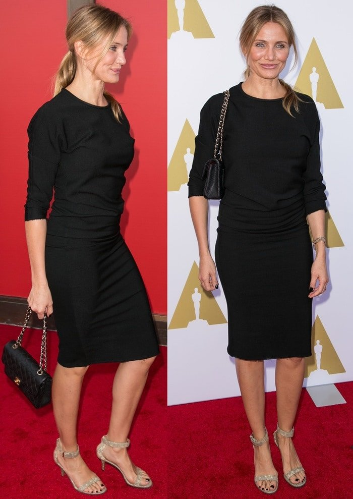 "Cameron Diaz wearing a ""Deena"" stretch wool-blend jersey dress by Isabel Marant"
