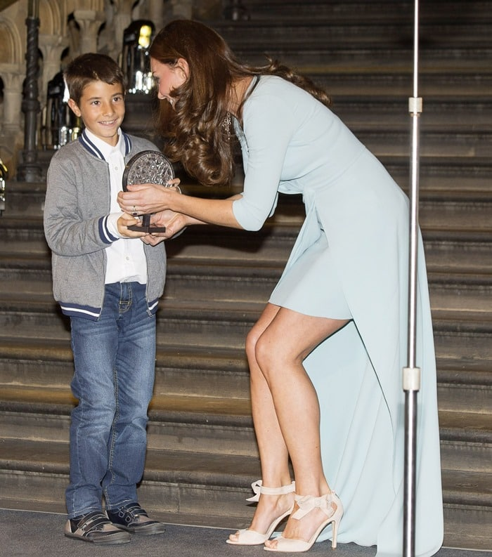 Catherine, Duchess of Cambridge (aka Kate Middleton), at the 2014 Wildlife Photographer of the Year Awards Ceremony at the Natural History Museum in London, England, on October 21, 2014
