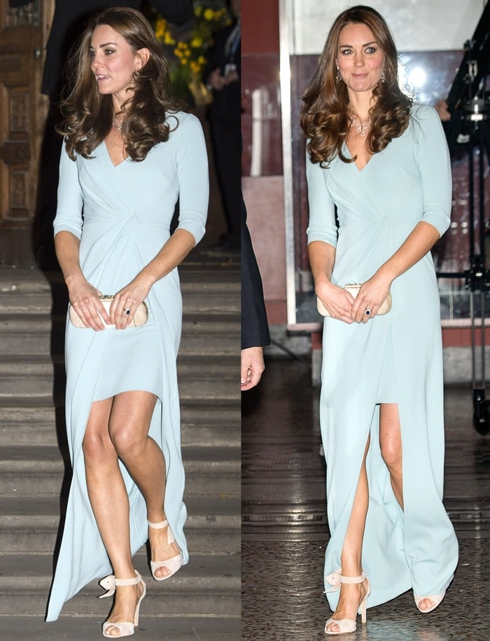 Catherine, Duchess of Cambridge (aka Kate Middleton), in a full-length Jenny Packham gown that showed off her killer legs