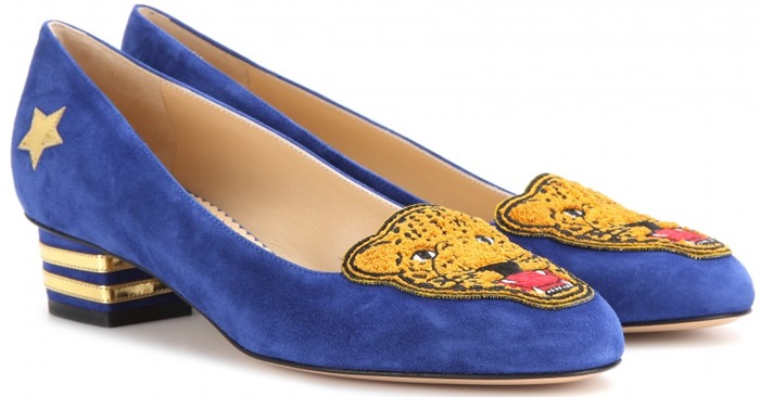 Charlotte Olympia Blue Mascot-Embroidered Suede Pumps