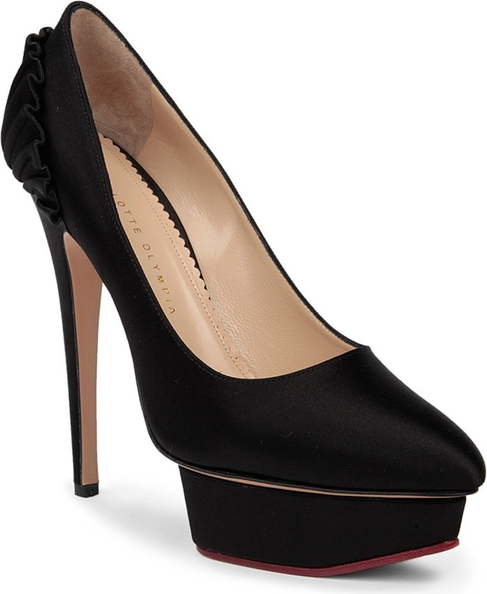 "Charlotte Olympia ""Paloma"" Pumps in Black Satin"
