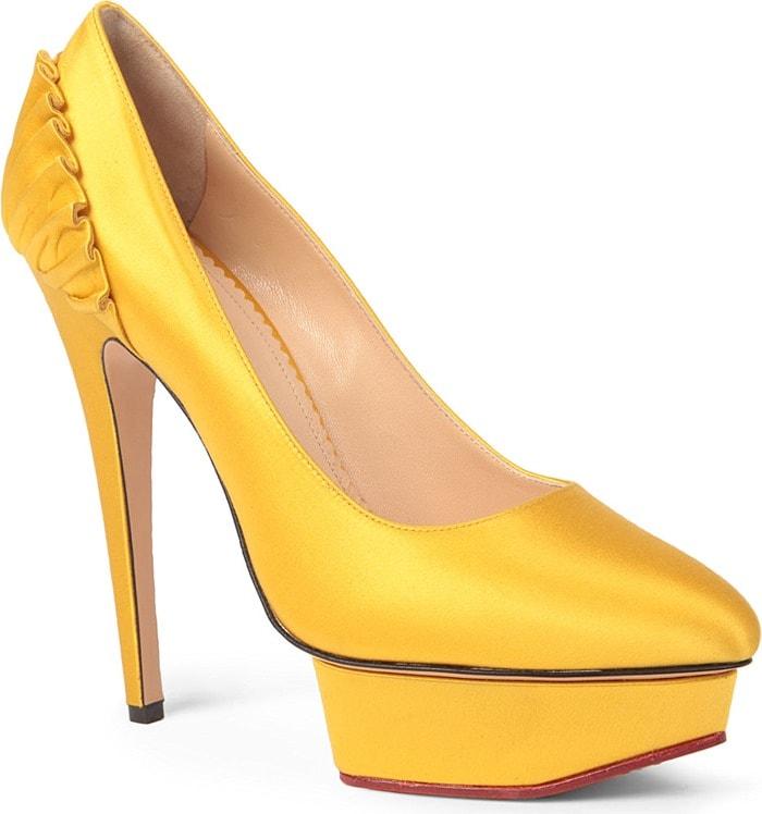 Charlotte Olympia Paloma Satin Platform Courts Yellow